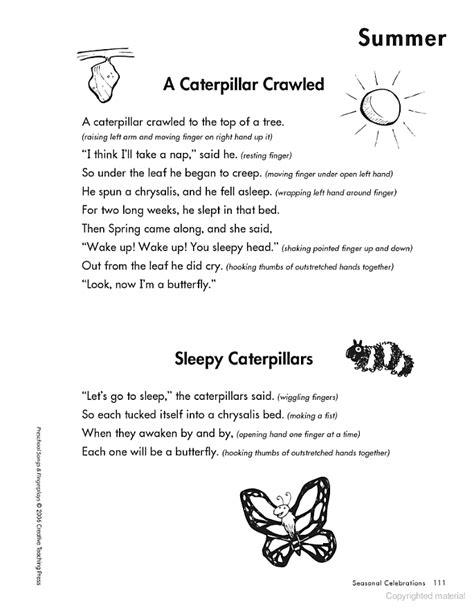 preschool songs fingerplays caterpillar fingerplays preschool songs fingerplays