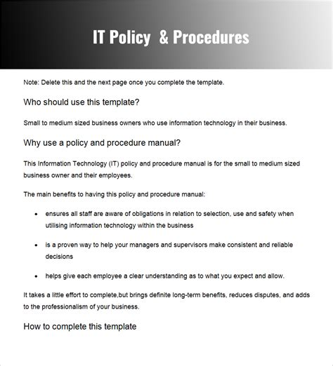 it policies templates policy and procedure templates word pdf