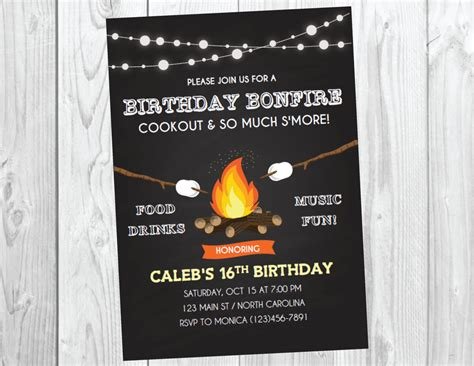 Bonfire Invitation Outdoor Cfire Birthday 28 Images Backyard Bonfire Birthday Invitation Bbq Cfire Invitation Template Free
