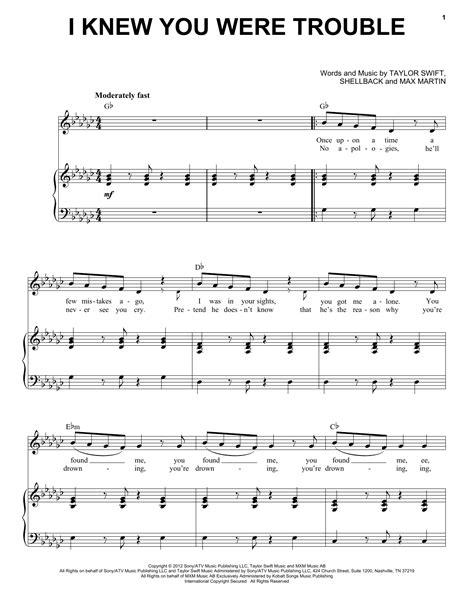 taylor swift i knew you were trouble music video mtv i knew you were trouble sheet music by taylor swift piano