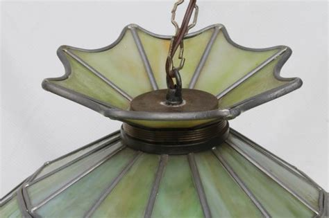 Hanging Stained Glass Light Fixtures Vintage Leaded Glass Shade Light Fixture Green Stained Glass Pendant Hanging L