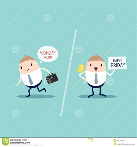 Friday With by Monday Vs Friday Stock Vector Image Of Convey Employee