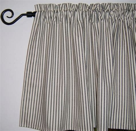 black and white ticking curtains window valance ticking stripe kitchen valance by