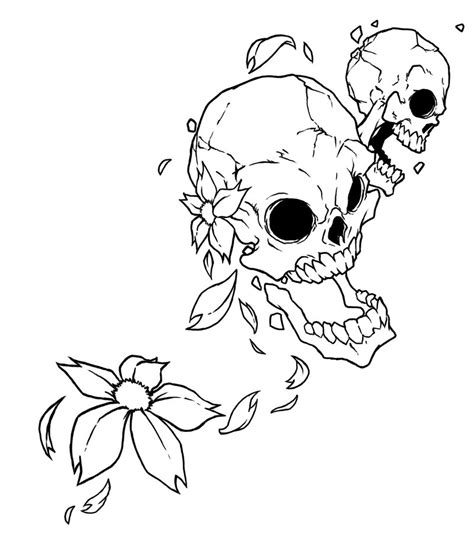 skull flowers tattoo designs flower skulls design by raikoh101