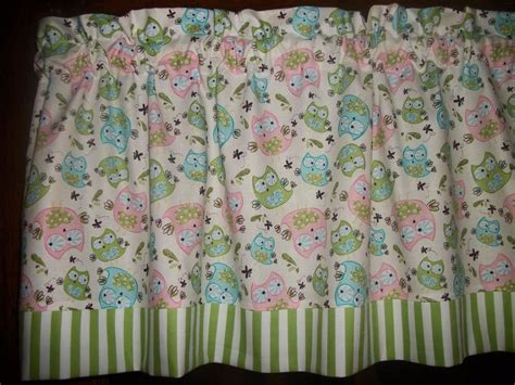 Owl Nursery Curtains Olive Green Striped Pink Blue Owl Birds Baby Nursery Fabric Curtain Valance Ebay