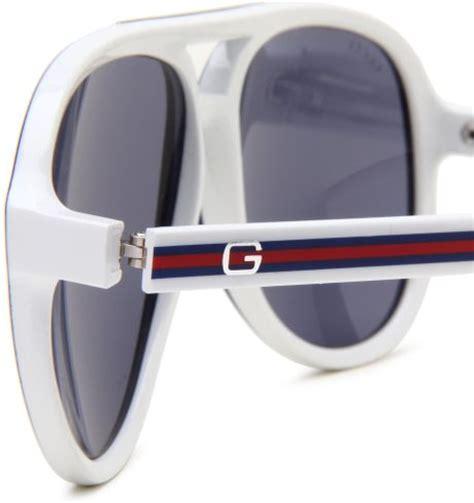 gucci mens s aviator sunglasses in white for men (blue