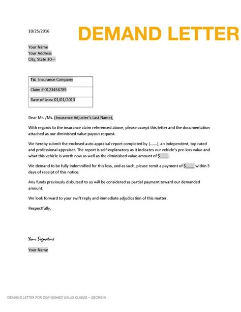 Demand Letter Vehicular Diminished Value Claim Letter Itubeapp Net