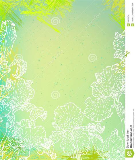 6x6 card design templates card with iris flowers on green watercolour stock vector
