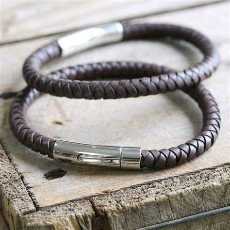 engraved s brown leather bracelet by