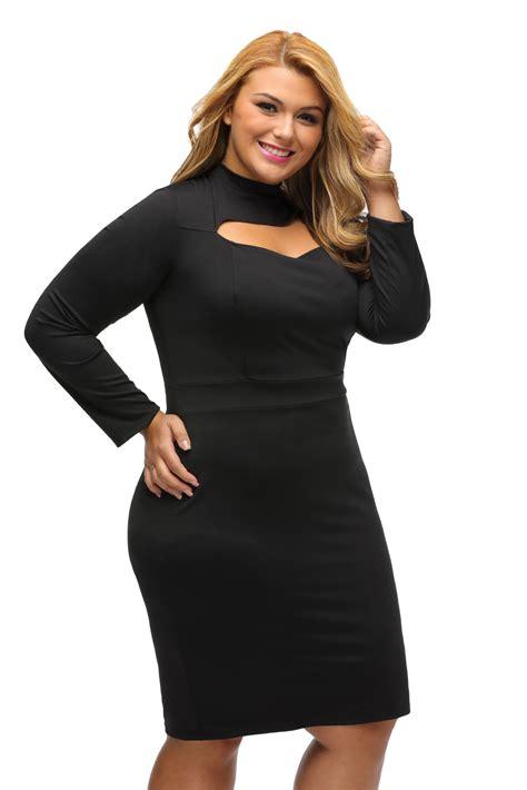women long sleeve keyhole bodycon  size dress