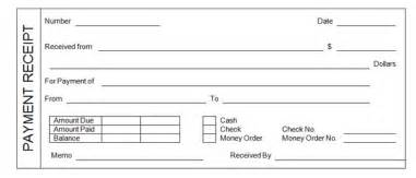 Template For A Receipt Of Payment Payment Receipt