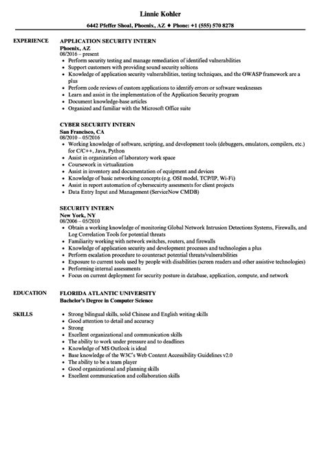 security intern resume samples velvet jobs