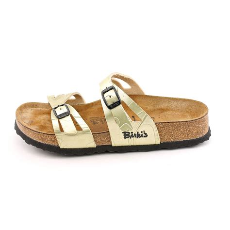 New Birkis Shoes birki s moorea soft womens size 7 gold open toe slides