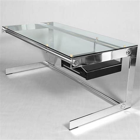 glass and chrome desk chrome and glass desk by gilles bouchez c1970 at