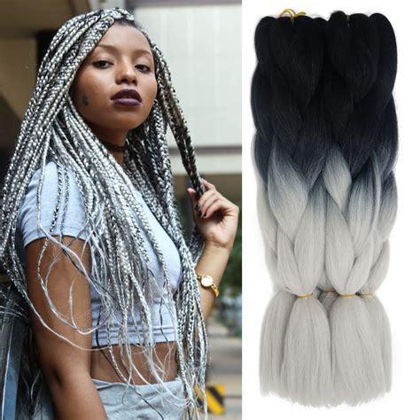 kanekolan hair black white grey ombre kanekalon jumbo braiding hair colors 24 african