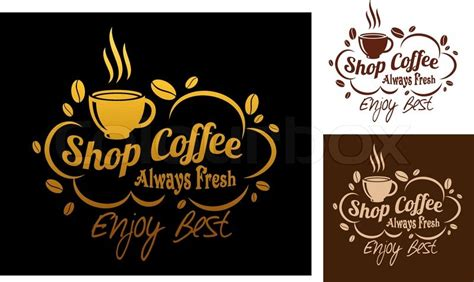 banner cafe design vector three color variants always fresh best coffee symbol or