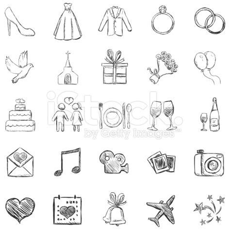 wedding doodle font free vector set of sketch weddings icons