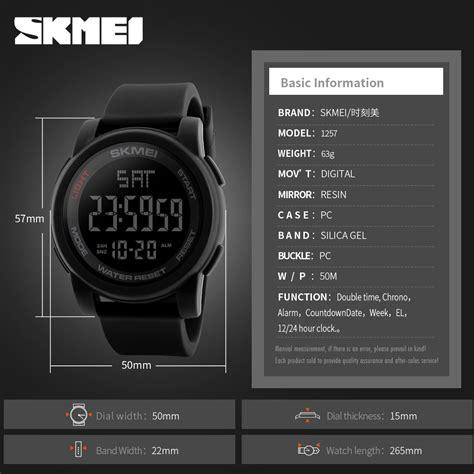 Jam Tangan Pria Skmei Dg 1257 Original Black skmei jam tangan digital pria dg1257 black jakartanotebook