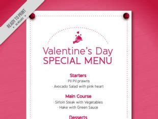 Special Menu Template For Valentine Day Free Vectors Ui Download S Day Menu Template