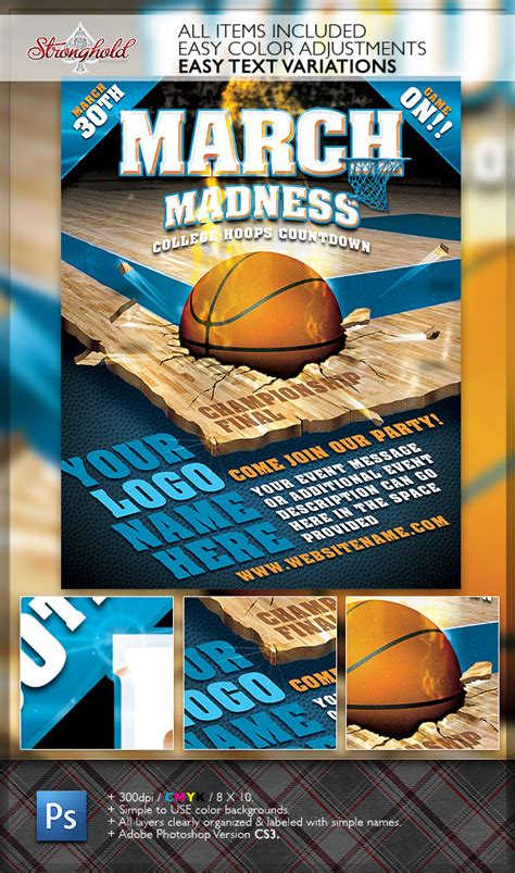 March Madness Basketball Flyer Template On Behance Madness Flyer Template