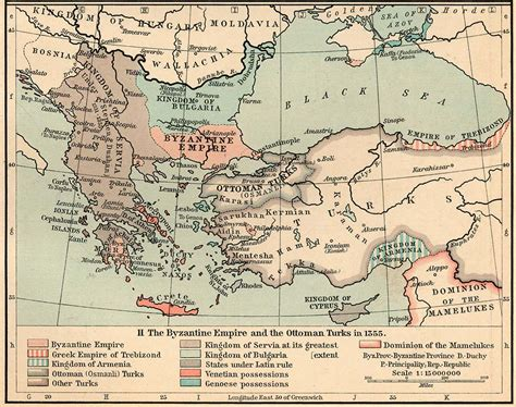 Ottoman Empire Turks Map Of The Byzantine Empire And The Ottoman Turks In 1355