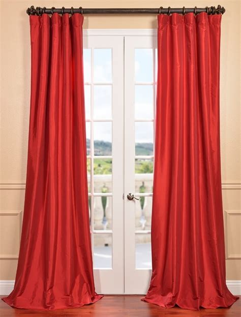 red silk drapes hollywood red faux silk taffeta curtain contemporary