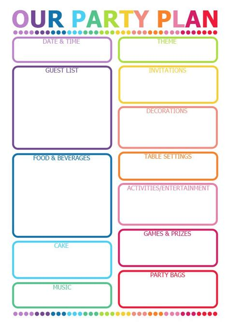 printable birthday planner 7 best images of party planner template printable party