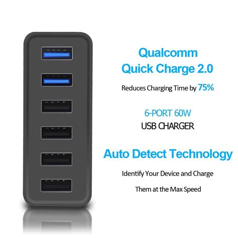 Charger Hp Auto Detect Output 2 4a Max Warna Putih buy qualcomm certified choetech charge 2 0 60w multi usb smart fast desktop car charger