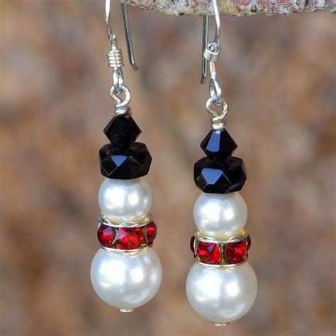 Handmade Swarovski Earrings - snowman earrings handmade swarovski pearls crystals