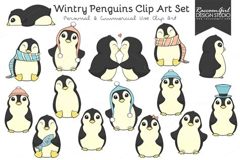 wintry penguins clip art set illustrations  creative