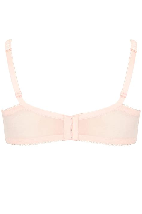 pink two tone stitched lace bra with underwiring padded cups