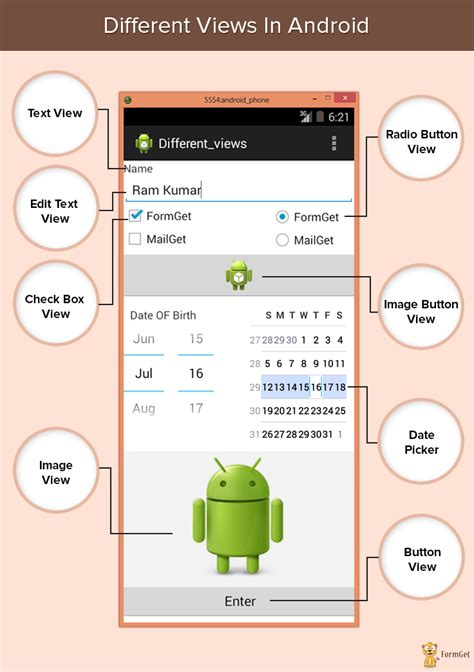 different types of views in android formget
