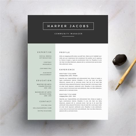 Resume Templates Modern Design Modern Resume Template And Cover Letter Template For Word