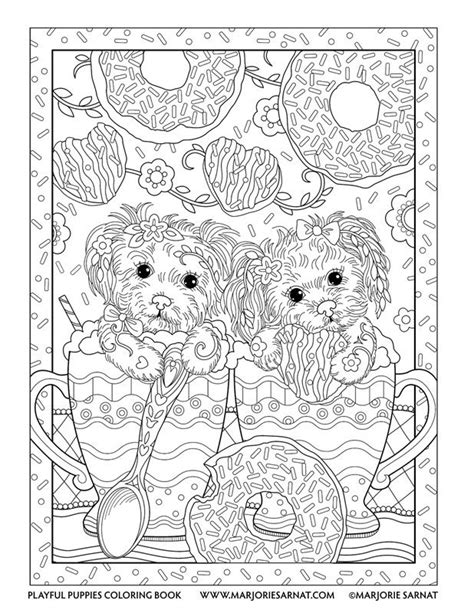 puppies coloring pages for adults coffee pups playful puppies coloring book by marjorie