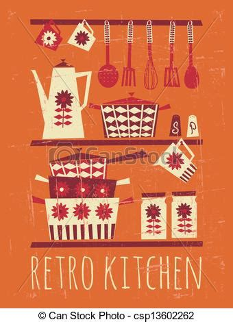 clip vector of retro kitchen poster poster with