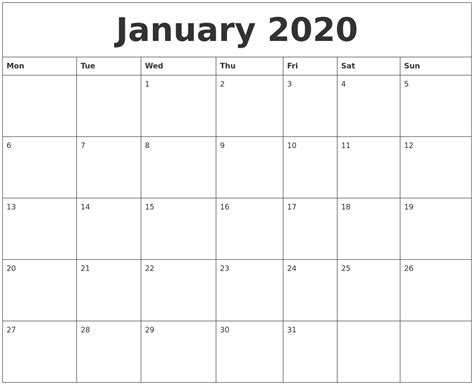 january  word calendar