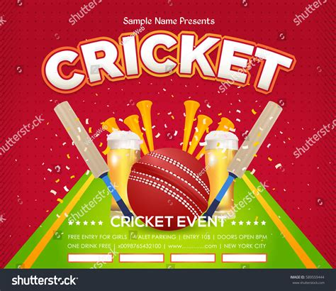 event layout vector cricket event poster background vector spotlights stock