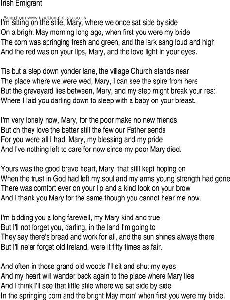 Irish Music, Song and Ballad Lyrics for: Irish Emigrant
