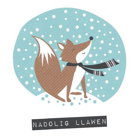 nadolig llawen in lights fox merry card nadolig llawen by allihopa notonthehighstreet