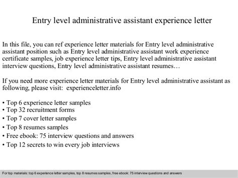entry level assistant cover letter sles entry level administrative assistant experience letter