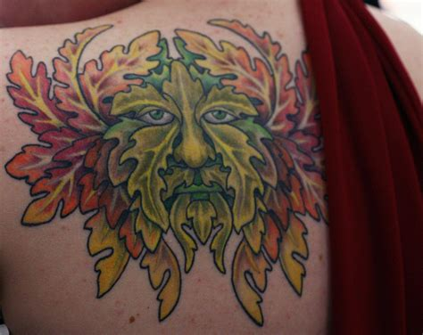 green man tattoo the green