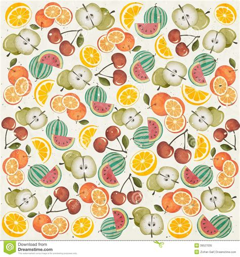fruit pattern hd retro vintage style wallpaper with fruits stock vector