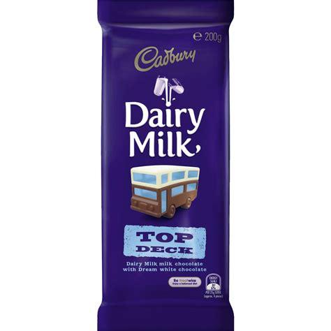 Top Chocolate cadbury dairy milk chocolate top deck 200g block woolworths