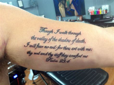 no tattoos bible psalm 23 4 script thinking about getting this on