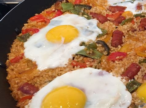 best paella rice paella rice with chistorra or chorizo and eggs simpletapas