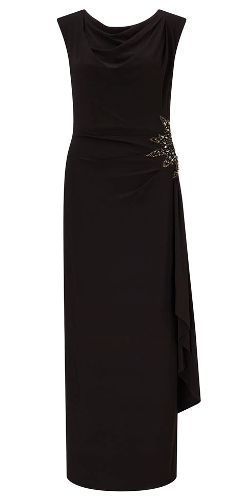 Elia Maxi elia black jersey embellished trim maxi dress ariella