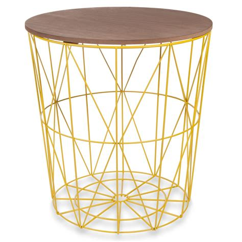 Yellow Metal Side Table Zigzag Yellow Metal Side Table D40cm Maisons Du Monde