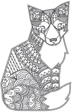 fox coloring page for adults coloriages pour adultes zen and imprimantes on pinterest