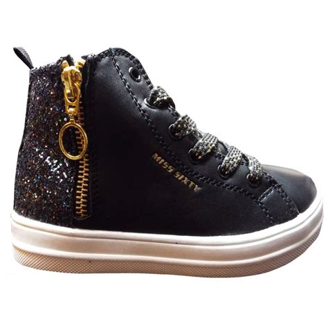 miss sixty shoes miss sixty black glittery high tops with gold zip