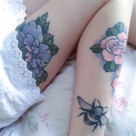 black and grey violet tattoo pastel pink and purple flowers and black and gray bee
